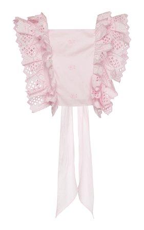 Eyelet Cotton Blend Top by Alberta Ferretti | Moda Operandi