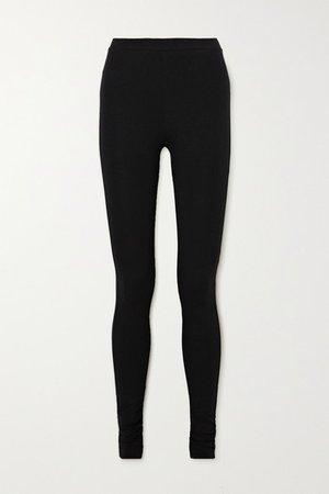 Cork Stretch-jersey Leggings - Black