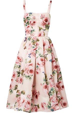 Dolce & Gabbana   Pleated floral-print silk-organza midi dress   NET-A-PORTER.COM