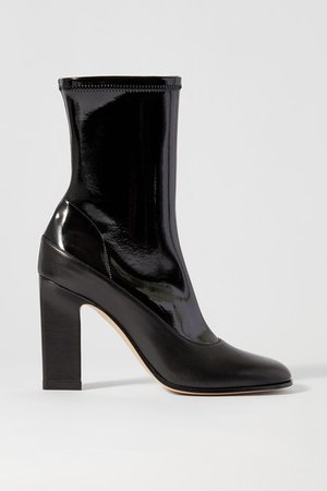 Lesly Patent And Matte-leather Ankle Boots - Black