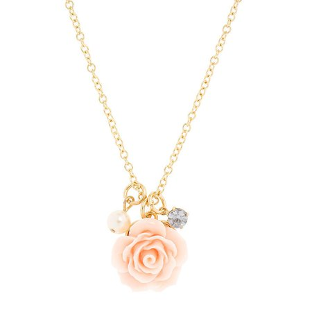Pearl, Crystal & Pink Carved Rose Necklace | Claire's US