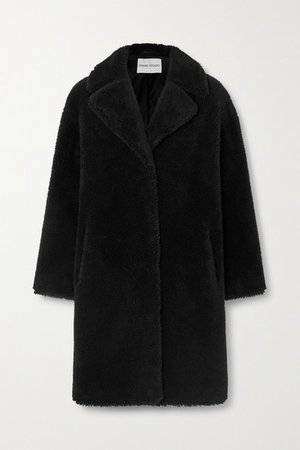 Camille Cocoon Oversized Faux Shearling Coat - Black