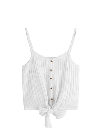 SheIn Women's V Neck Tie Knot Front Ribbed Knit Sleeveless Cami Tank Crop Top Large White at Amazon Women's Clothing store: