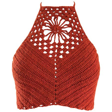 Burnt Orange Hand Crochet Vintage Wool Crop Top Flower Boho Shirt, 1970s For Sale at 1stdibs