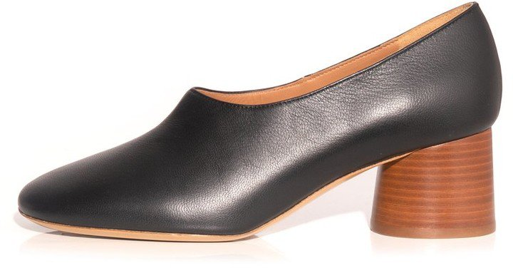 Stacked Heel Pump in Black