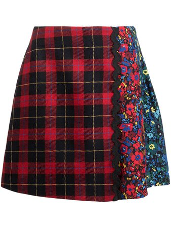 Shop Vivetta floral-panelled tartan skirt with Express Delivery - FARFETCH