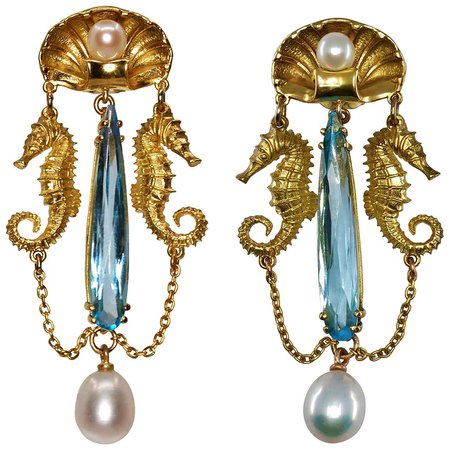 Amphitrite's Tears Earrings 18kt Yellow Gold with Blue Topaz and Freshwater Pearls For Sale at 1stDibs