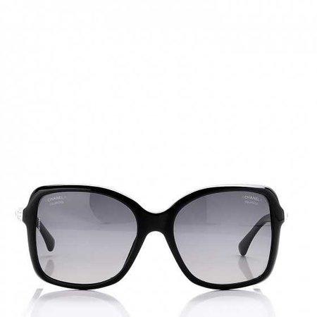 CHANEL Crystal Baguette Polarized Square Sunglasses 5308-B Black 263746