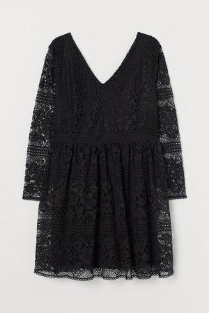 H&M+ Lace V-neck Dress - Black