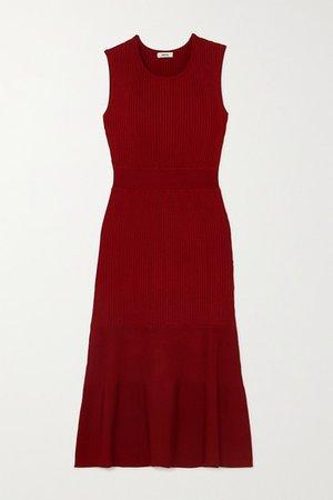 Ribbed-knit Dress - Burgundy