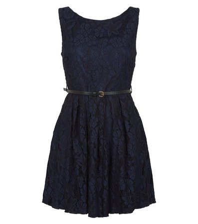 Mela Navy Lace Belted Skater Dress | New Look