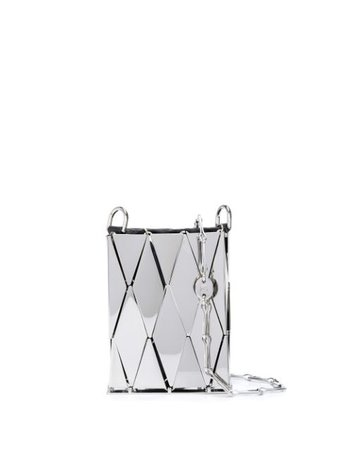 Paco Rabanne Metallic Tile Crossbody Mini Bag 19HSS0109MET063 Silver | Farfetch