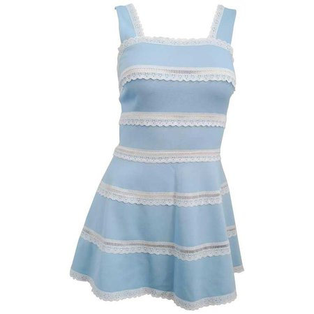 60s Baby Blue and Lace Tennis Dress For Sale at 1stdibs