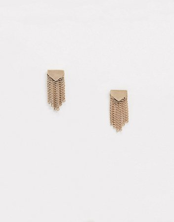 AllSaints mini fringe stud earrings in gold | ASOS