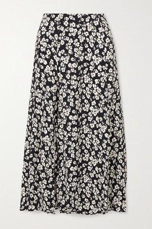 Zoe Floral-print Crepe Midi Skirt - Blue