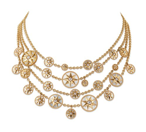 GOLD, DIAMOND AND MOTHER-OF-PEARL 'ROSE DE VENTS' NECKLACE, DIOR