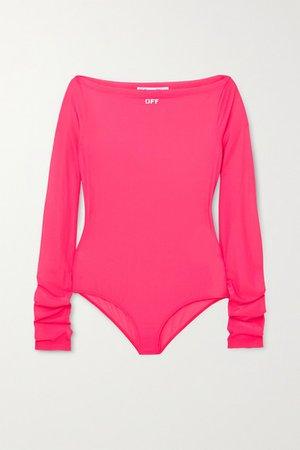 Printed Stretch-jersey Bodysuit - Fuchsia
