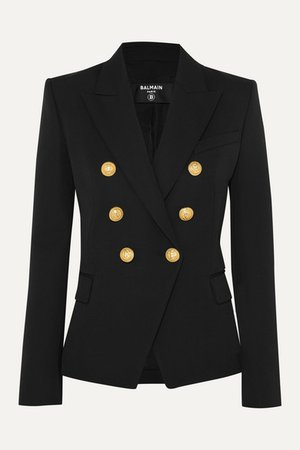 Balmain   Double-breasted wool-twill blazer   NET-A-PORTER.COM