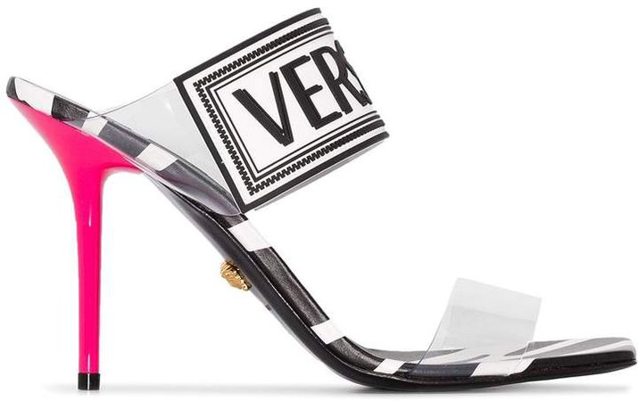 zebra print logo sandals