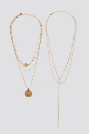 Layered Coin Drop Chain Necklace Gold | na-kd.com