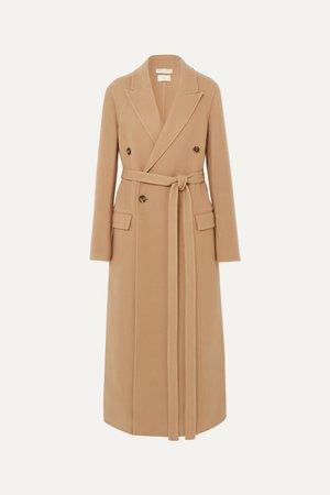 Camel Double-breasted belted cashmere coat | Bottega Veneta | NET-A-PORTER