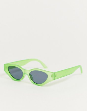 ASOS DESIGN angular cat eye sunglasses in neon green | ASOS