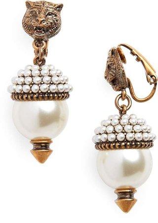 Gucci Feline Head Faux Pearl Drop Earrings