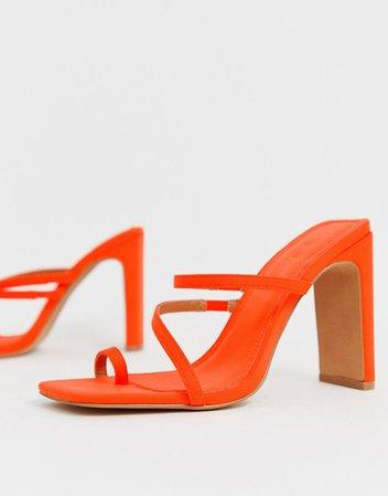 ASOS DESIGN Heckle toe loop barely there block heeled sandals in neon orange   ASOS