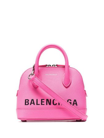 Shop pink Balenciaga fluorescent pink Ville XXS leather tote with Express Delivery - Farfetch