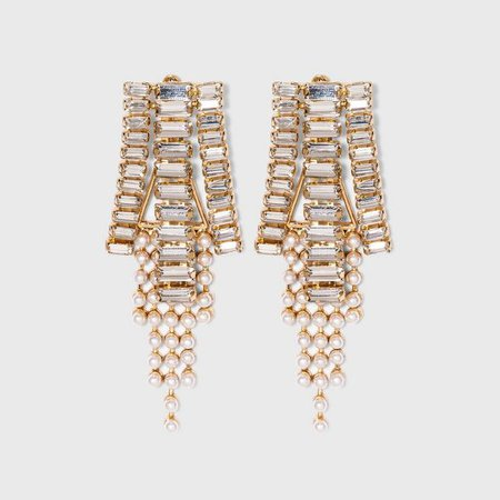SUGARFIX By BaubleBar Crystal Baguette Drop Earrings - Clear : Target