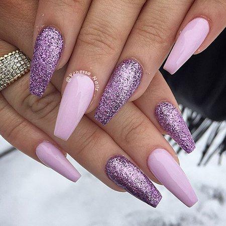 purple long nails