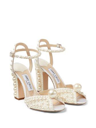 Jimmy Choo Sacaria pearl-embellished Sandals - Farfetch