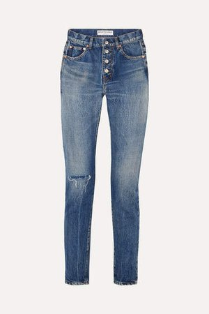 Distressed Mid-rise Straight-leg Jeans - Blue