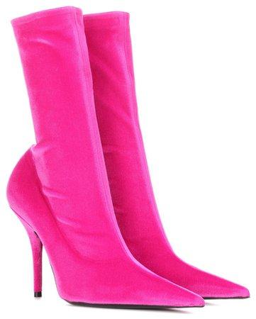 BALENCIAGA Pink Velvet Knife Boots