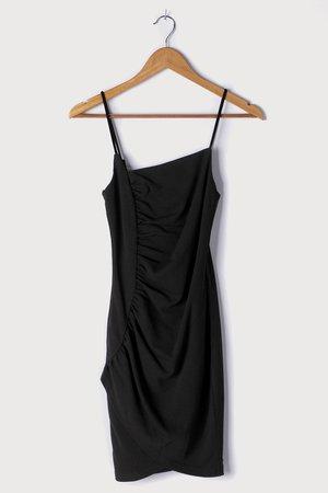 Black Mini Dress - Ruched Bodycon Dress - Asymmetrical Mini Dress - Lulus