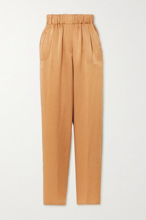 Hammered Silk-satin Tapered Pants - Gold