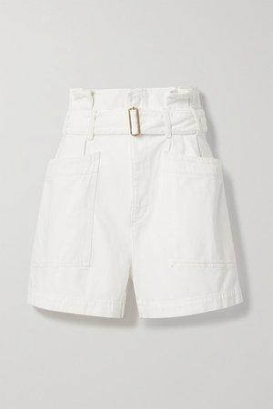 Celia Belted Denim Shorts - White