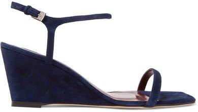 Astrid Suede Wedge Sandals - Navy