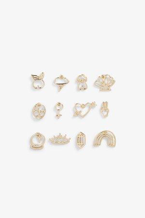 Assorted stud earrings - Gold metallic - Earrings - Monki WW