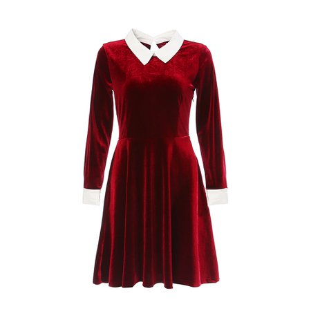 Velvet Dress with Contrast Collar Black Dark Red Dresses OV66013_8.jpg (1000×1000)