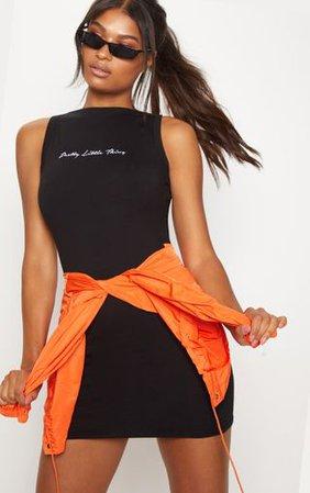 Plt Black Embroidered Sleeveless Bodycon Dress | PrettyLittleThing