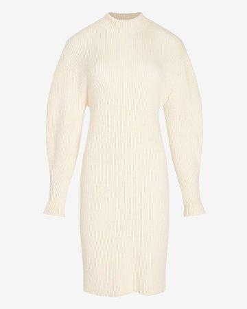 Ribbed Mock Neck Ballon Sleeve Sweater Dress