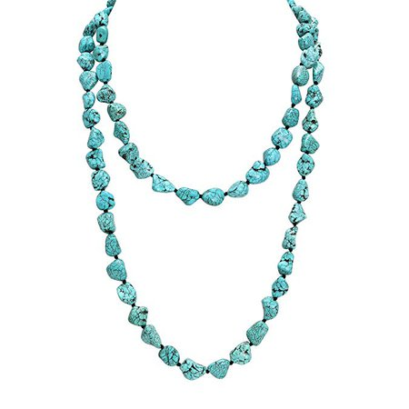 Amazon.com: POTESSA Turquoise Beads Endless Necklace Long Knotted Stone Multi-Strand Layer Necklaces Handmade Jewelry 47'': Jewelry