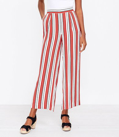 The Petite Pull On Wide Leg Crop Pant in Stripe