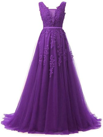Huifany Women's V Neck Lace A-line Empire Long Formal Evening Dress Prom Gown at Amazon Women's Clothing store