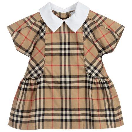 Burberry - Baby Beige Cotton Dress | Childrensalon