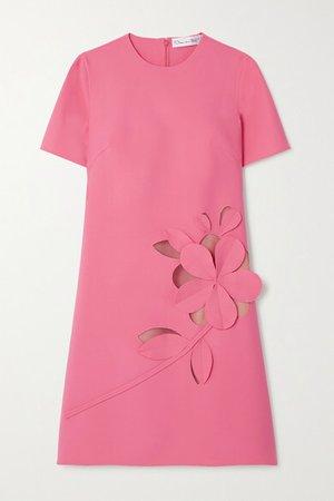 Cutout Stretch Wool-blend Mini Dress - Pink