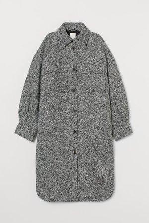Long Shacket - Black melange - Ladies   H&M US