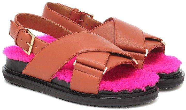 Fussbett shearling-trimmed sandals