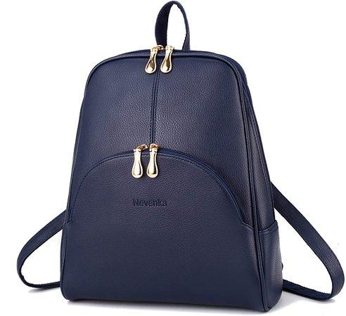 Amazon.com: Nevenka Brand Women Bags Backpack Purse PU Leather Zipper Bags Casual Backpacks Shoulder Bags (Navy Peony): Clothing